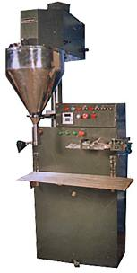 Semi automatic auger filler with sealing system for powders